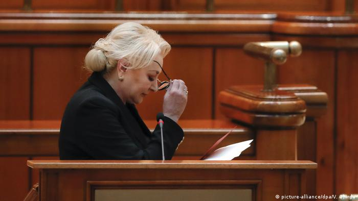 Prime Minister Viorica Dancila on the day of the vote of no confidence
