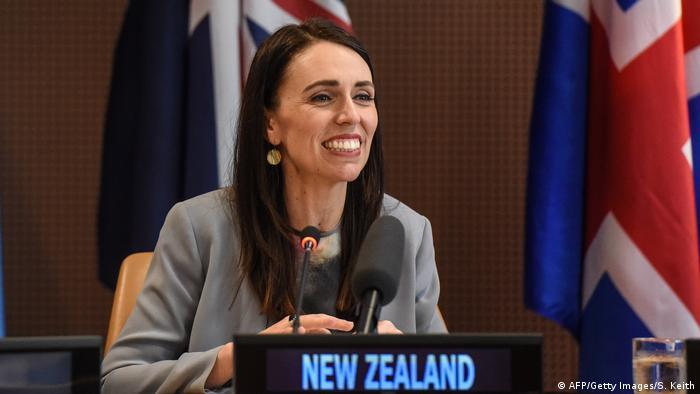 La primera ministra de Nueva Zelanda, Jacinda Ardern, hablando en la Asamblea General de la ONU en Nueva York