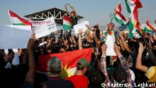 10.10.2019 *** Syrian Kurds protest the Turkish offensive against Syria during a demonstration in front of the United Nation Headquarter in Erbil, Iraq October 10, 2019. REUTERS/Azad Lashkari