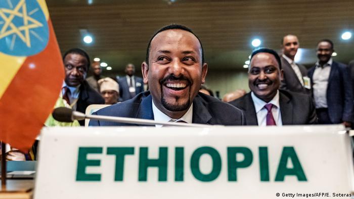 Ethiopia's Prime Minister Abiy Ahmed smiles