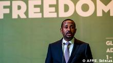 Abiy Ahmed, Prime Minister of Ethiopia, speaks during the Guillermo Cano World Press Freedom Prize ceremony in Addis Ababa, on May 2, 2019. - The ceremony, hosted by the Ethiopian government, is part of the World Press Day event organized by UNESCO in the city of Addis Ababa. The laureates of this year are journalists Kyaw She Oo and Wa Lone who are currently under arrest in Myanmar. (Photo by EDUARDO SOTERAS / AFP)