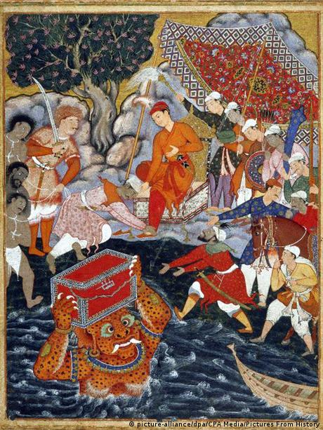 A section of the 'Hamzanama' panel, commissioned by Mughal Emperor Akbar in the 16th century