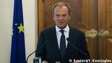 11.10.2019 *** European Council, President Donald Tusk attends a news conference at the Presidential Palace in Nicosia, Cyprus October 11, 2019. REUTERS/Yiannis Kourtoglou/Pool