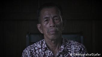 Datuk Syaefi, tetua desa Rukam yang memimpin perjuangan warga menuntut ganti rugi perusahaan sawit, Erasakti Wira Forestama, di Muaro Jambi, Jambi.