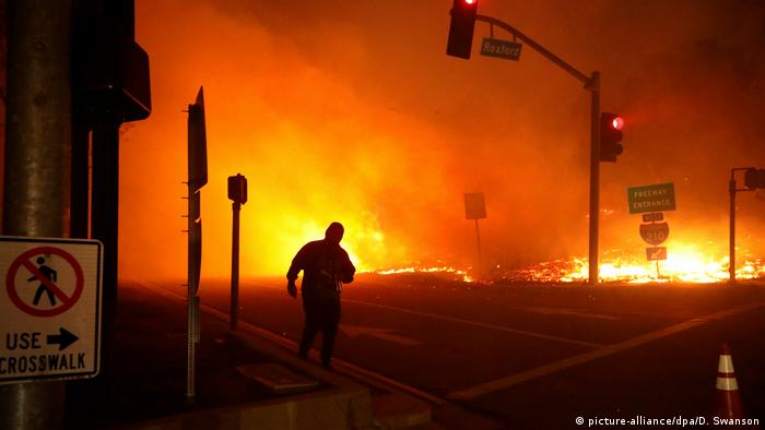 The wildfire burns near a freeway in San Fernando Valley on Friday
