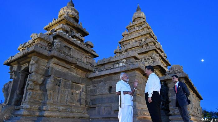 In Mamallapuram in southern India, Modi took Xi on a personal tour of temple monuments dating back to the seventh and eighth centuries