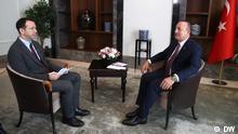 Türkei Istanbul, 12.10.2019 DW Interview mit dem türkischen Aussenminister Mevlüt Çavuşoğlu über die Syrien-Offensive der Türkei.