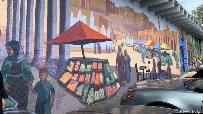 Wandgemälde mit Basarszene in Little Kurdistan, Nashville