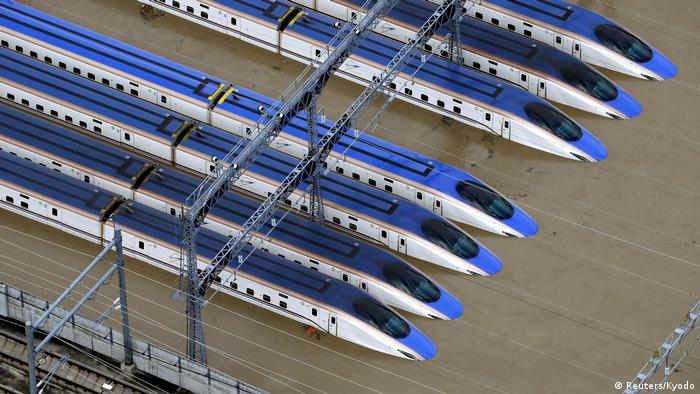 A Shinkansen bullet train rail yard is seen flooded due to heavy rains caused by Typhoon Hagibis in Nagano (Reuters/Kyodo)
