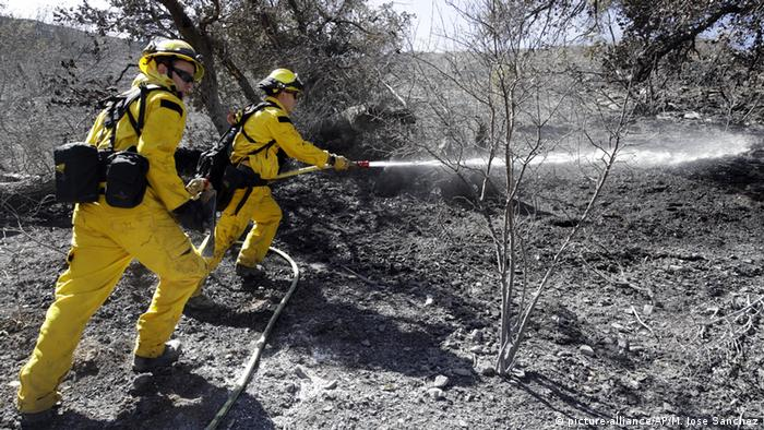 Two firefighters with hoses (picture-alliance/AP/M. Jose Sanchez)