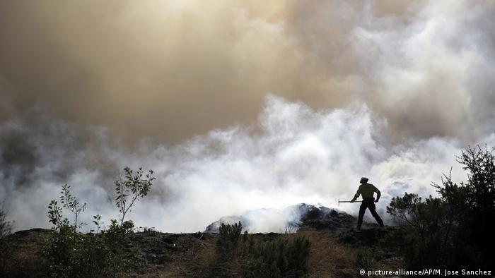 Firefighter with smoke in background (picture-alliance/AP/M. Jose Sanchez)