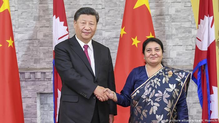 Chinese President Xi Jinping meets with Nepali President Bidhya Devi Bhandari in Kathmandu, Nepal, on Oct. 12, 2019