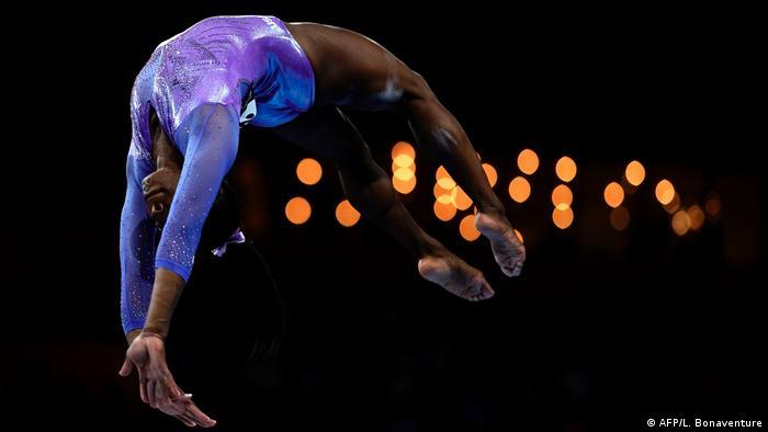 Simone Biles performing her gymnastics routine in Stuttgart