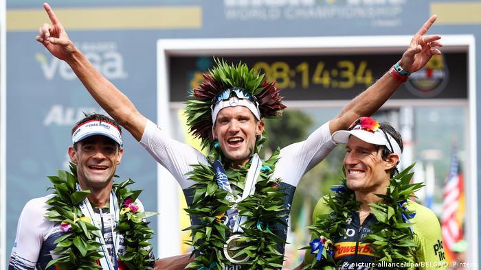 USA Ironman-WM auf Hawaii | O'Donnel (l-r) aus den USA, Frodeno aus Deutschland und Kienle aus Deutschland