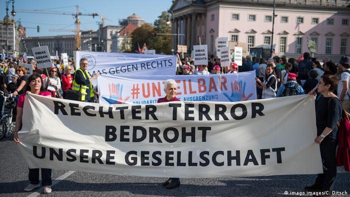 Protesto contra o extremismo de direita em Berlim em outubro de 2019