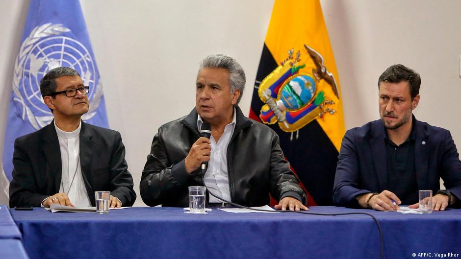 Ecuador Demonstranten und Regierung nehmen erste Gespräche auf