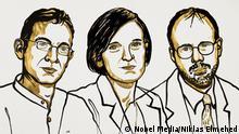 Zeichnung Wirtschaftsnobelpreisträger 2019 | Abhijit Banerjee, Esther Duflo and Michael Kremer