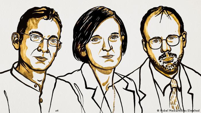 Zeichnung Wirtschaftsnobelpreisträger 2019 | Abhijit Banerjee, Esther Duflo and Michael Kremer (Nobel Media/Niklas Elmehed)