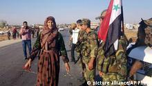Syrien Tal Tamr Syrische Armee trifft in Kurdengebieten ein