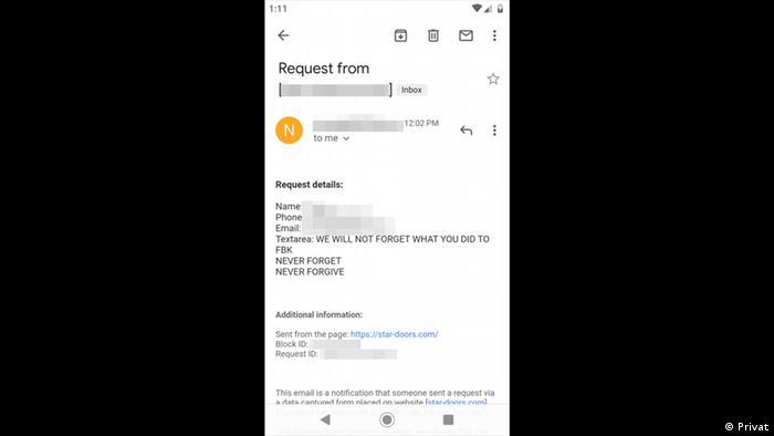 Скриншот сообщения, которое пришло на электронный адрес компании Маслихова: Мы никогда не забудем, что ты сделал ФБК. Никогда не забудем, никогда не простим.