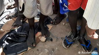 Chained feet of Islamic school students in Daura