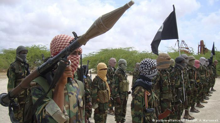 Al-Shabab fighters display weapons as they train in Mogadishu