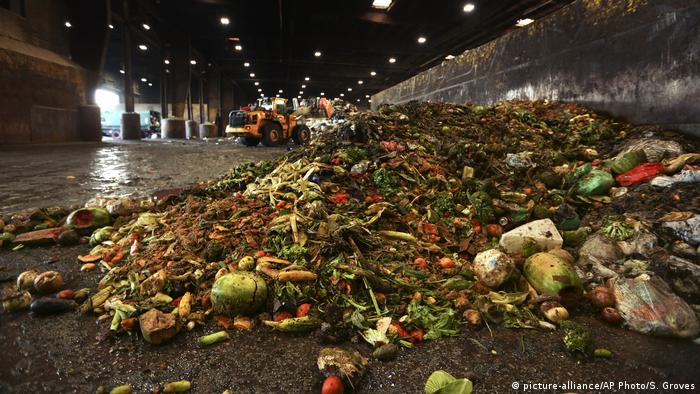 At the Waste Management facility in North Brooklyn, tons of leftover food sits piled up before being processed into bio-slurry, in New York