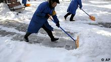 Workers shovels snow to clear the Jinshan park in Beijing, Monday, Jan. 4, 2010. China's capital dug out Monday from the weekend's heavy snowstorms, seeking to restore flights and reopen highways and rail lines covered by drifts. (AP Photo/Andy Wong)