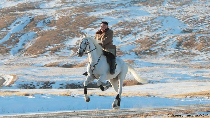 Machthaber von Nordkorea reitet auf dem Berg Paektusan (picture-alliance/dpa/KCNA )