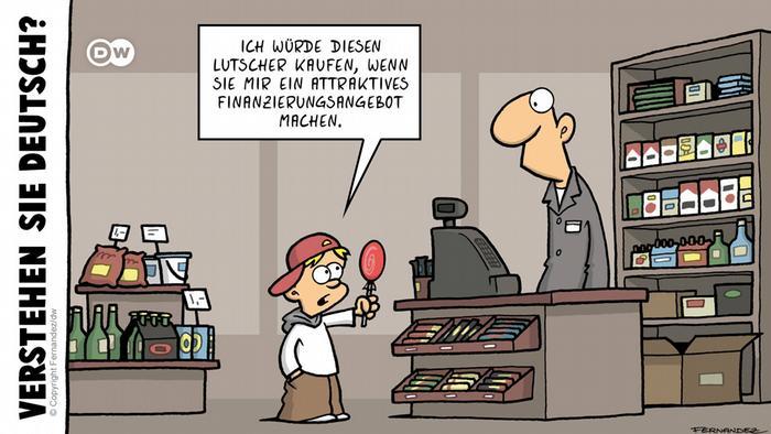 DW Euromaxx Comics von Fernandez Verstehen Sie Deutsch? zum Thema Sparsamkeit.