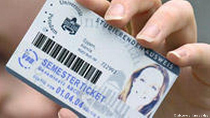 Deutschland Studentenausweis mit Chipkarte