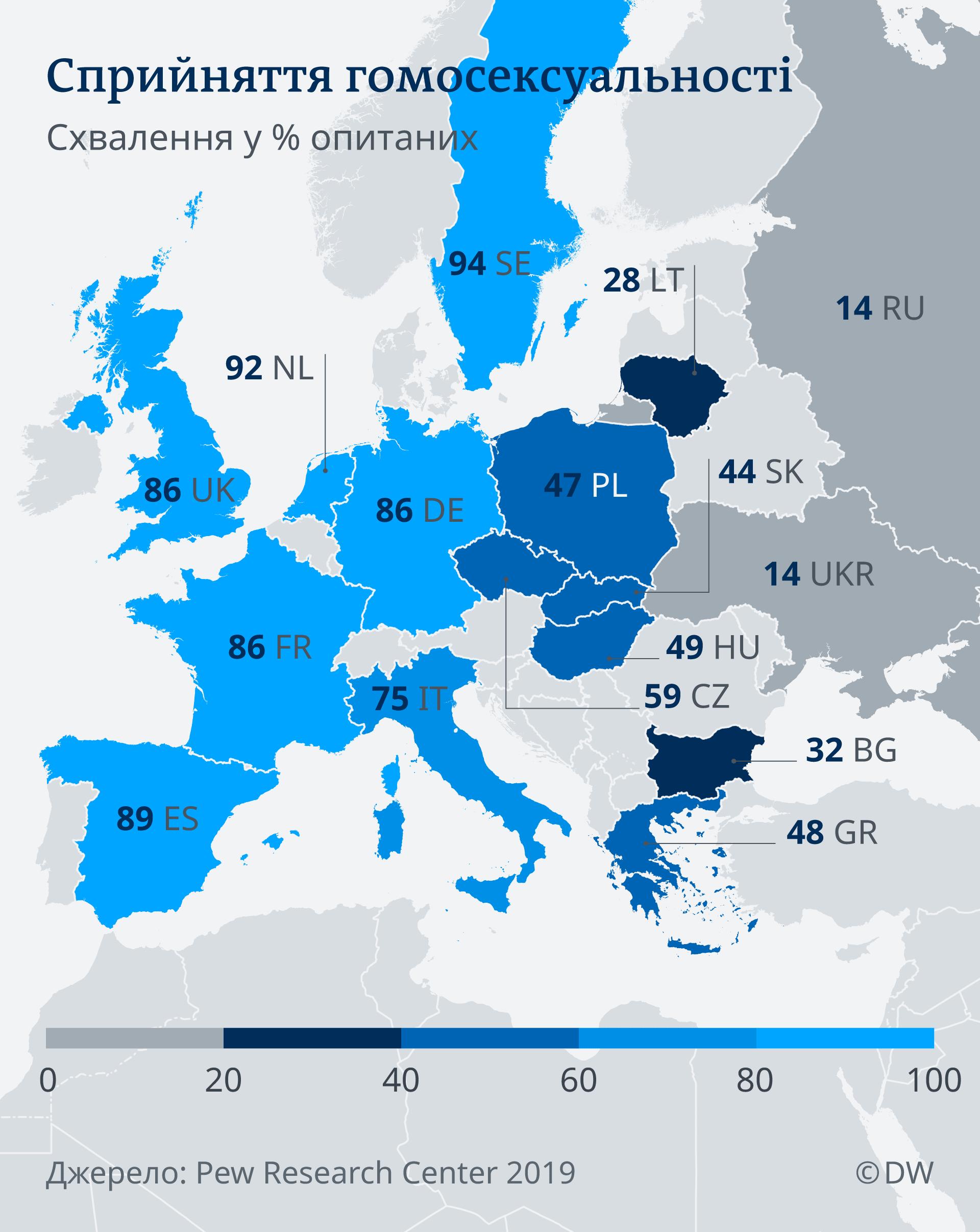 Infografik Karte, Akzeptanz von Homosexualität UK