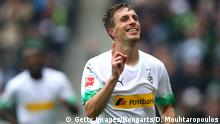06.10.2019 MOENCHENGLADBACH, GERMANY - OCTOBER 06: Patrick Herrmann of Borussia Monchengladbach celebrates scoring his team's third goal during the Bundesliga match between Borussia Moenchengladbach and FC Augsburg at Borussia-Park on October 06, 2019 in Moenchengladbach, Germany. (Photo by Dean Mouhtaropoulos/Bongarts/Getty Images)