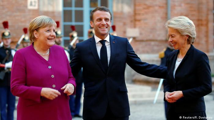 Frankreich Toulouse | Emmanuel Macron & Angela Merkel & Ursula von der Leyen