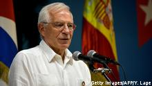 16.10.2019 Spanish Foreign Affairs Minister Josep Borrell speaks during a joint press conference with his Cuban counterpart Bruno Rodriguez (out of frame) at the Foreign Affairs Ministry in Havana, on October 16, 2019. - Borrell is in Cuba on official visit. (Photo by YAMIL LAGE / AFP) (Photo by YAMIL LAGE/AFP via Getty Images)