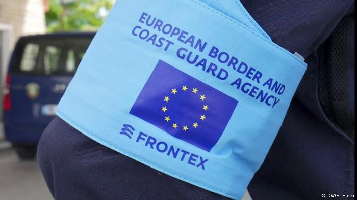 Frontex logo on an agent's arm