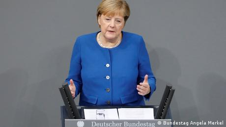 Angela Merkel speaking in Parliament