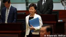 Hong Kong's Chief Executive Carrie Lam arrives to answer questions from lawmakers regarding her policy address, at the Legislative Council in Hong Kong, China October 17, 2019. REUTERS/Umit Bektas