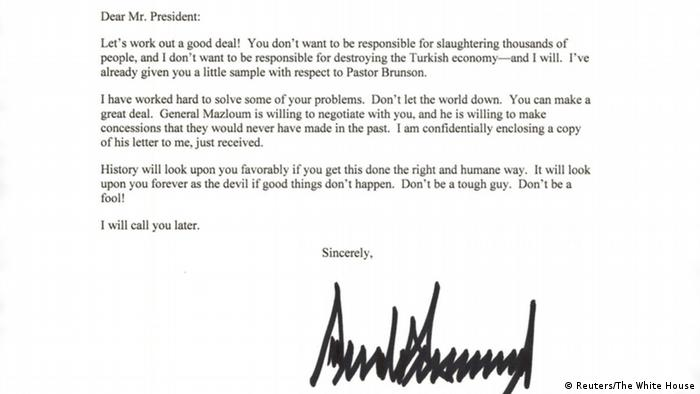 Carta de Donald Trump para presidente da Turquia