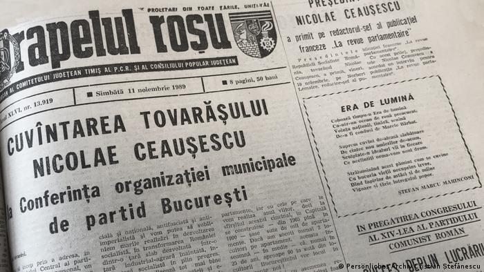Румънските вестници на 11 ноември 1989 хвалят брилянтната реч на Николае Чаушеску. За падането на Стената няма и дума.