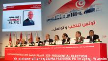 October 14, 2019, Tunis, Tunisia: Nabil Baffoun, President, Farouk Bouasker, vice president, Anis Jarboui, Mohamed Tlili Mansri, Nabil Azizi, Hasna Ben Slimen, Adel Brinsi, Sofien Abidi and Belgacem Ayachi attend a press conference to announce the official preliminary results of the presidential election runoff in Tunis. .Kais Saied, is ranked first in official results with 72,71 %, Nabil Karoui is ranked second with 27,29 (Credit Image: © Jdidi Wassim/SOPA Images via ZUMA Wire |