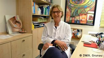 Teresa Steinmüller sits in her office