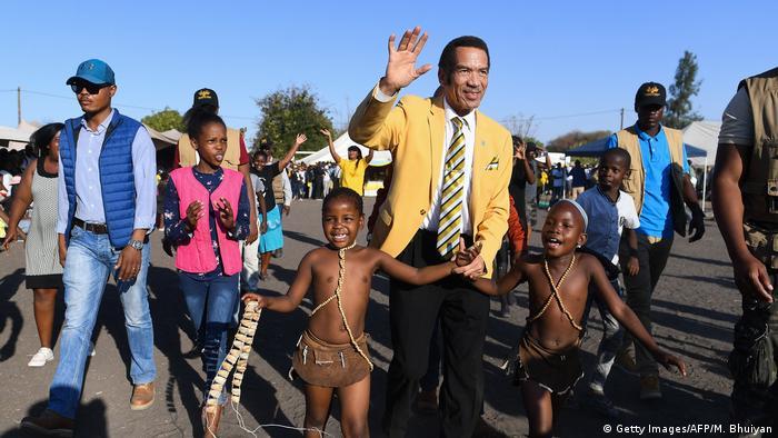 Ian Khama surrounded by children