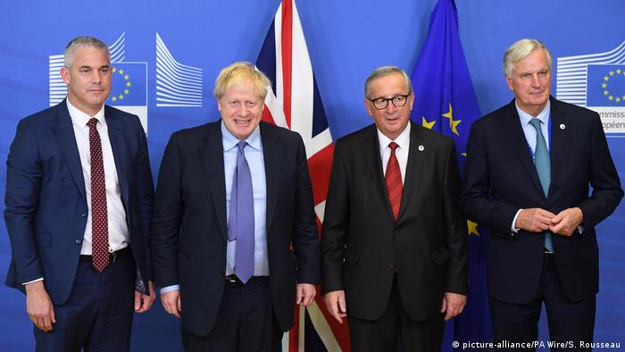 Barclay, Johnson, Juncker y Barnier en Bruselas.