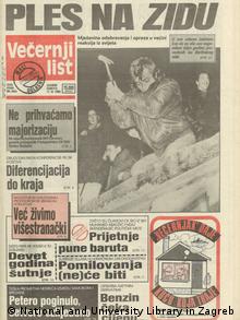 Zeitung: Vecernji list zum Mauerfall
