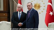 Militärischer Konflikt in Nordsyrien | Türkischer Präsident Recep Tayyip Erdogan mit US-Vizepräsident Mike Pence