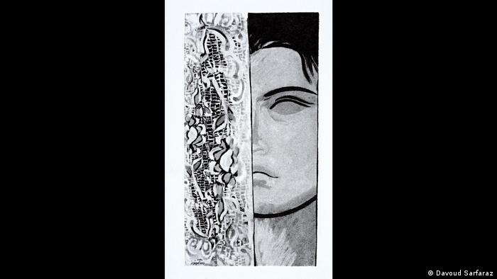 زن از موتیفهای اصلی کارهای سرفراز است. در کارهای او رهایی از جنس زن است. مرکب روی کاغذ.