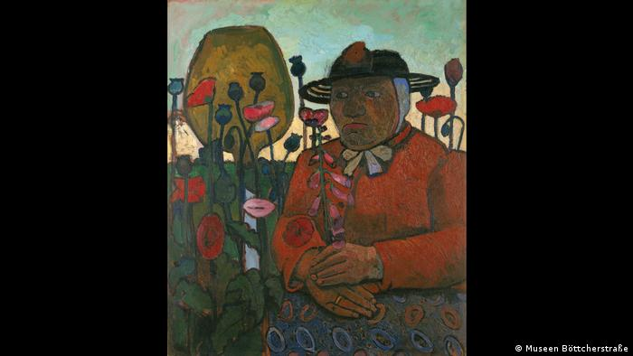 Paula Modersohn-Becker: Old Woman from Almshouse with Glass Ball and Poppy Flowers, 1907 (Museen Böttcherstraße)