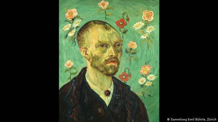 A self-portrait of Van Gogh backdropped by flowers