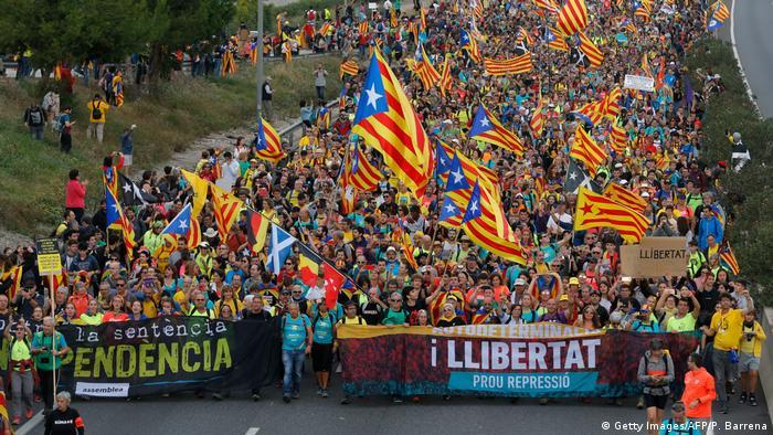 Участники марша свободы в Каталонии